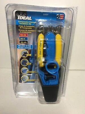 Ideal 33-662T Compression Connector Datacomm Tool Kit - 10 Free Connectors