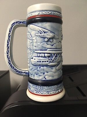 "Vintage AVON Stein Mug Tankard 1982 ""Flying Classics Ceramic Airplane 155180"
