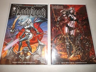 Lady Death Chaos Rules #1 (Lot of 2) Standard + Inferno variant NM