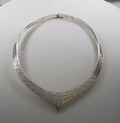 Vintage Hand Made 950 Sterling Greek Key Design Necklace