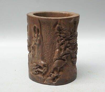 Chinese Exquisite Hand-carved Crane landscape carving Agarwood Brush Pot