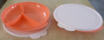 Two New Tupperware Divided Plates & Seals Microwave Safe Dishes Guava New