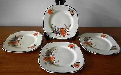 Set of 4 x Empire Works Stoke on Trent Art Deco Side Plates England c 1930s