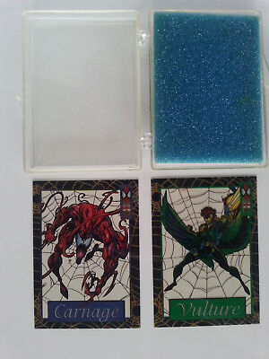 Two 1994 Spiderman Suspended Animation Cards / Carnage #5 & Vulture #8