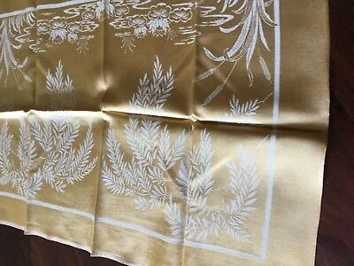 Vintage gold damask rayon table cloth with 12 serviettes