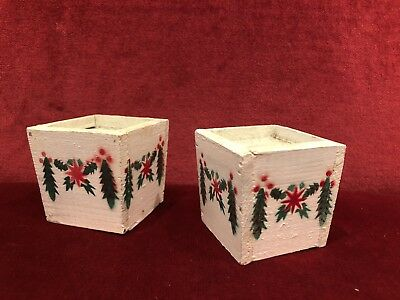 Pair of Antique 1920's Christmas Stencil Painted Wood Feather Tree Bases
