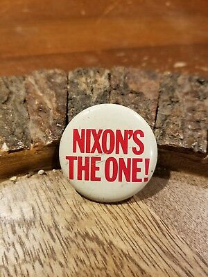 Vtg Nixon's the One 1968 Republican Presidential Campaign Lapel Pinback Button