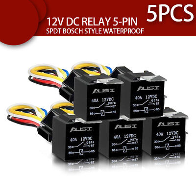 5Pcs Car SPDT Automotive Relay 12AWG Wires Waterproof 40/30Amp 12V DC 5Pin