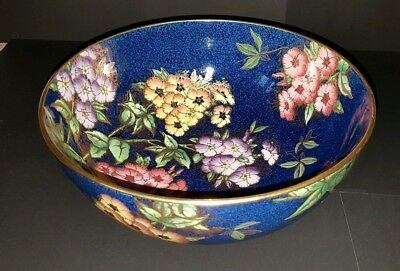 Rare Antique Maling Ware Blue & Gold Gilded Fruit Bowl C. 1930s No 6273 Chelsea