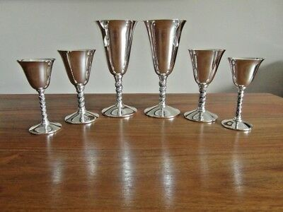6 Vintage Silver Plated Wine Goblets =Valero Spain = 3 Different Size Pairs VGVC