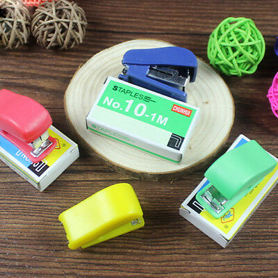 2x Mini Office Portable Stapler Figure Gun Stationery Book + Sewer Staples CL HH