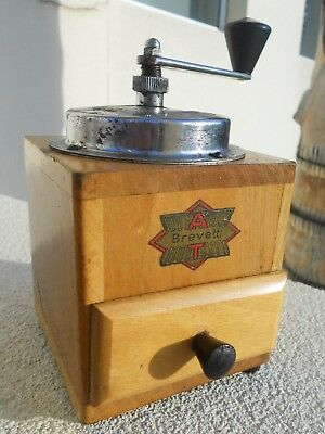 "Vintage ""at Brevetti"" Coffee Grinder In Wooden Case"