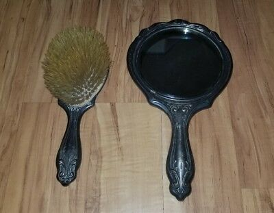Vintage Antique Hand-held Mirror & Brush Wallace Bros .500 Silver