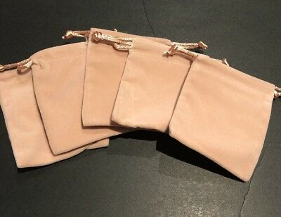 New 5 Pcs Creamy beige Colour Velvet Drawstring Jewellery Gift Pouch Bag Storage