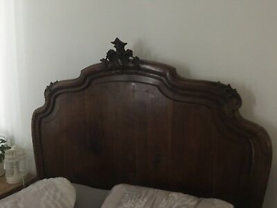 walnut louis xv style carved double bed stead