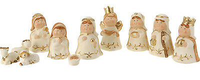 11 Piece Cute Xmas Modern Ceramic Cream Christmas Nativity Figurine Display Set