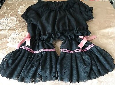 Burlesque Black lace bloomers and lace top