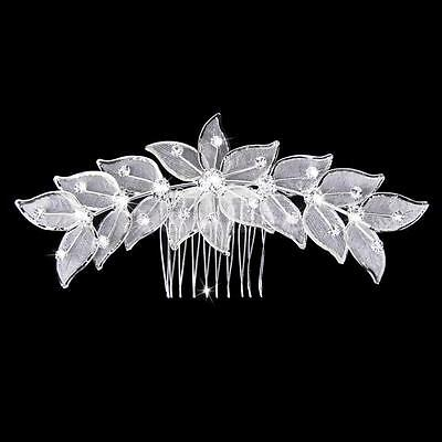 Wedding hair Accessories Silver Floral Hair Comb Clip Pin Bridal Bridal