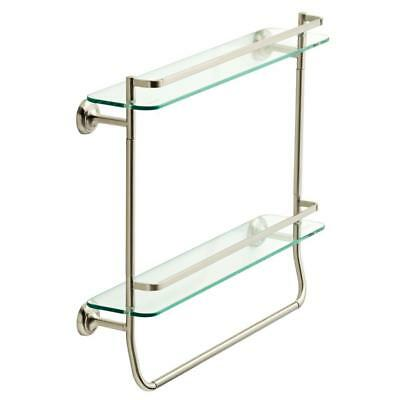 Delta 20 In Double Glass Shelf Towel Bar In Spotshield Brushed