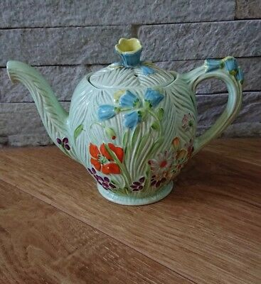 Vintage Beswick Green Floral China Porcelain Teapot No. 871 Made in England