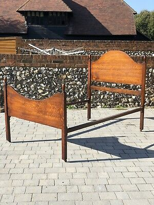 Vintage Vono Oak And Iron Small Double Bedstead