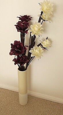 Collection Only Hunstanton Tall Big Vase Of Artificial Flowers Purple & Cream Gc