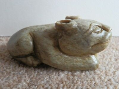 Oriental Hardstone Carving Of An Ugly Dog Pendant