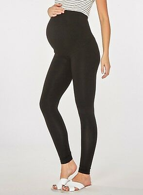 Dorothy Perkins Maternity Black Cotton Over The Bump Leggings - Size UK12 , BNWT