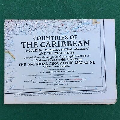 Vintage National Geographic Magazine Maps of countries of the Caribbean 1947