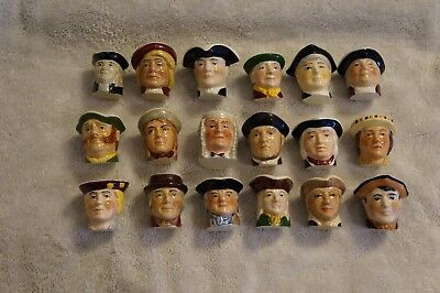 Tony Wood Miniature Thimble Toby Jugs with display dome