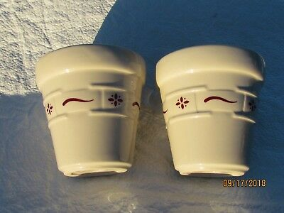 """Lot of 2 Longaberger Votive Candle Holders Red Woven Traditions Pattern 3 1/4"""""""