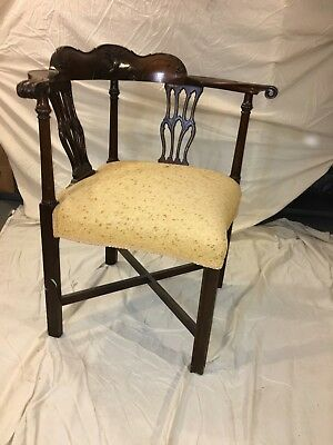 Antique French Hand Carved Corner Chair