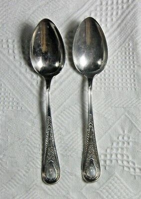 """2 Gorham Sterling Silver HINDOSTANEE OVAL SOUP SPOONS, 6 3/4"""", Monogram of L"""