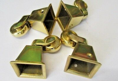 """Set of 4 Brass square cup castors, 2.1/2"""" high, in new un used condition."""