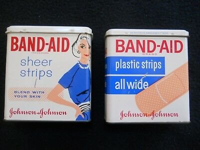 2 Vintage Band Aid Tins / Lady with Blue Dress / First aide Advertising
