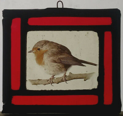 Stained Glass Robin Bird  - Traditional kiln fired centre Christmas decoration