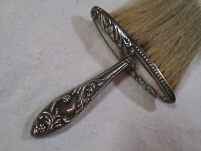 Vintage Sterling Silver & Horsehair Victorian Art Nouveau Bluebells Crumb Brush