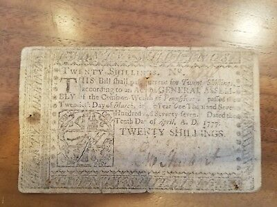 1777 Commonwealth Of Pennsylvania Colonial Currency Note 20 Shillings J. Dunlap