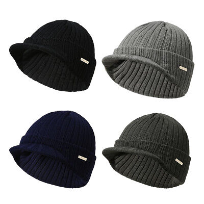 Men s Winter Warm Visor Brim Beanie with Bill Knit Baseball Cap Skull Hats a86d796a910
