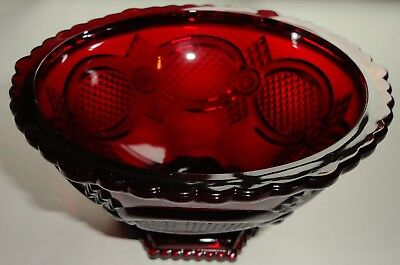 Avon Cape Cod 1876 Collection Ruby Red Footed Glass Candy Bowl New No Box