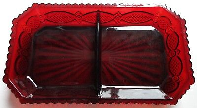 Avon Cape Cod 1876 Collection Ruby Red Divided Serving Plate / Bowl New No Box