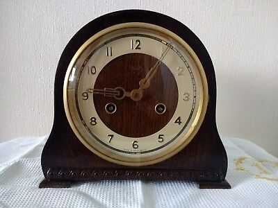 Vintage Smiths Enfield Wooden striking Mantle Clock in Good Working Condition