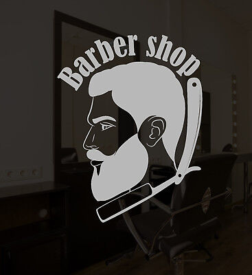 Vinyl Wall Decal Barbershop Logo Signboard Retro Straight For Men Sticker 3192ig
