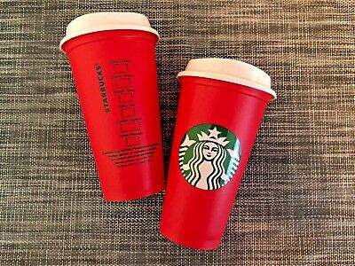 2X Starbucks Reusable Red Cup Holiday 2018 16 oz Collectors Edition - You Get 2