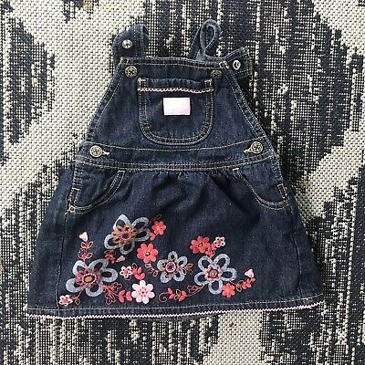 OshKosh BGosh Denim Vestbak Jumper Dress 18 Mos floral embroidery Overalls