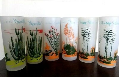 Vtg 50's: 6 Blakely Oil & Gas Arizona Cactus Frosted Rare Ice Tea Glasses