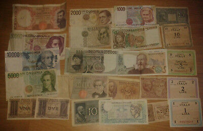 Italy lot 23 different banknotes - VF condition