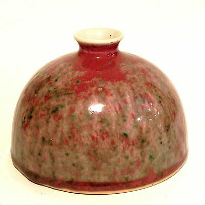 Early 20th C Chinese Glazed Flambe Water Coupe Peach Bloom Brush Washer Beehive
