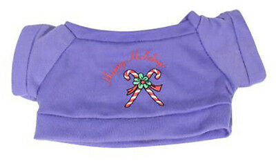 """Happy Holidays Purple T-Shirt Fits Most 14"""" - 18"""" Build-a-bear and Make Your Own"""