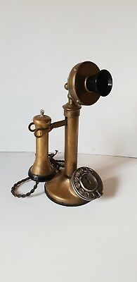 Vintage Solid Brass Candlestick Telephone